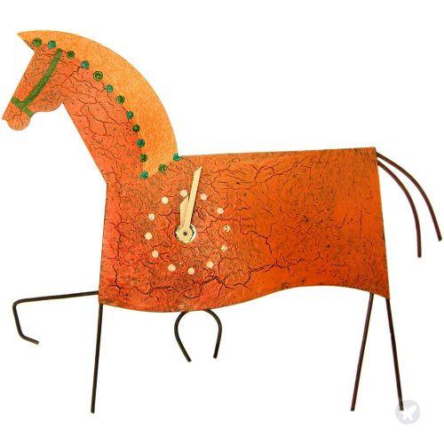 Horse wall clock orange