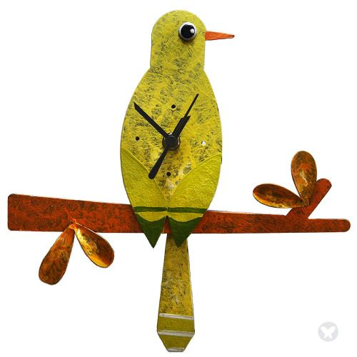 Hummingbird in brach wall clock  yellow