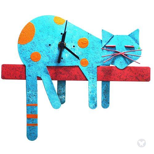 Lazy cat wall clock teal