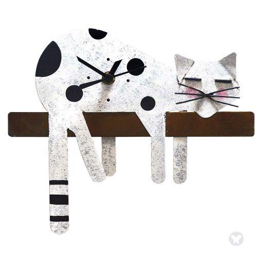 Lazy cat wall clock white