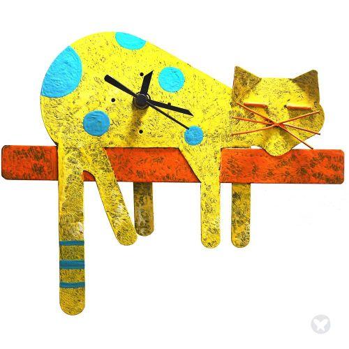 Lazy cat wall clock yellow