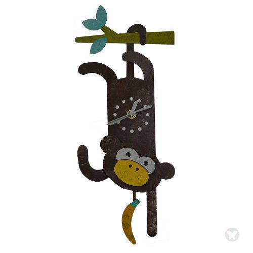 Monkey wall clock brown