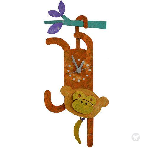 Monkey wall clock orange