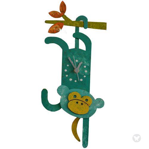Monkey wall clock teal