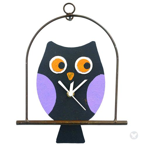 Owl in flat cage wall clock black