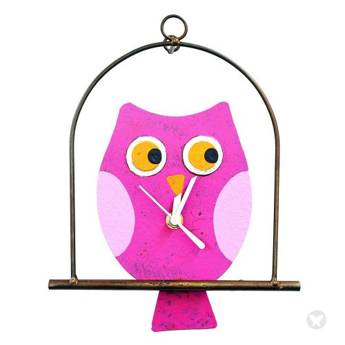 Owl in flat cage wall clock fuccia