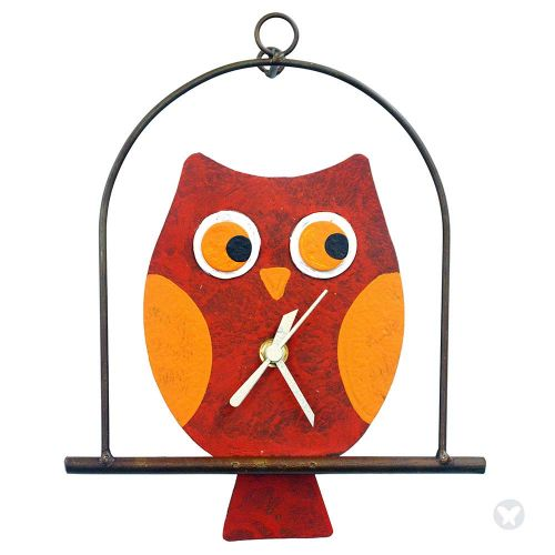 Owl in flat cage wall clock red