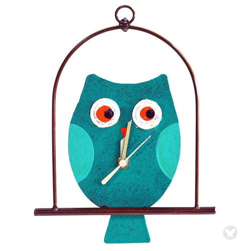 Owl in flat cage wall clock teal