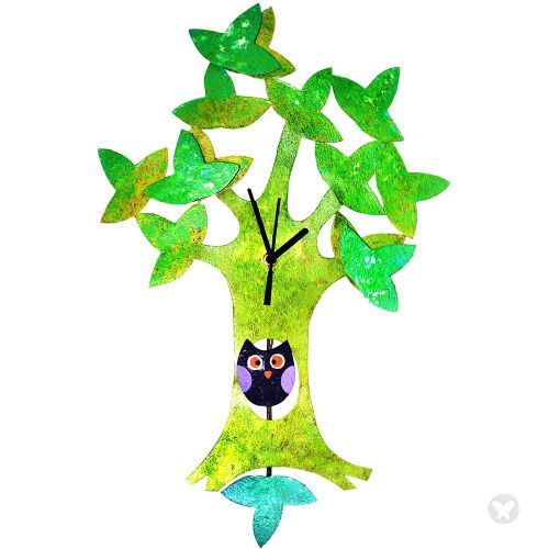 Owl in tree clock green