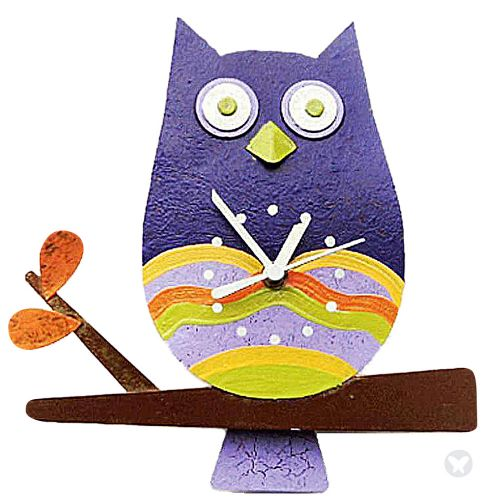 Owl wall clock violet