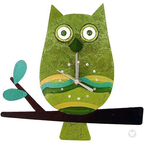 Owl wall clock green