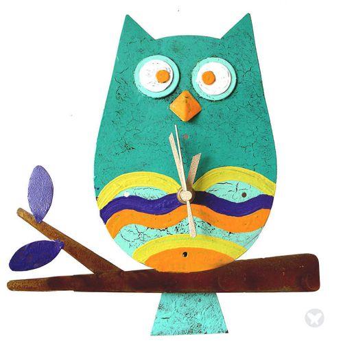 Owl wall clock teal