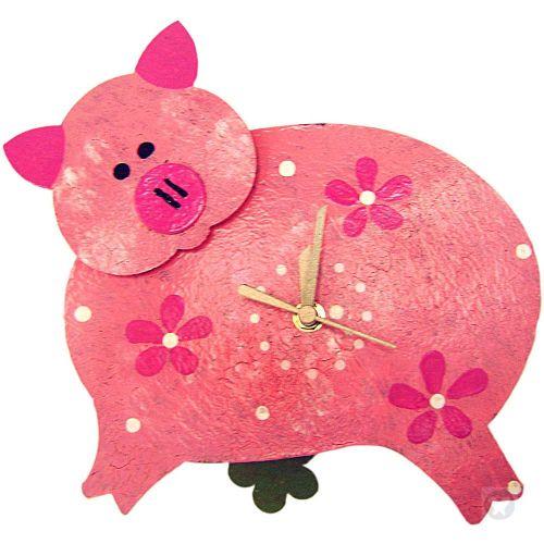 Pig wall clock pink