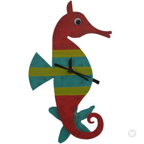 Seahorse wall clock red