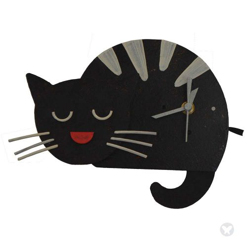 sleepy cat wall clock black