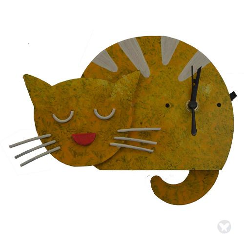 sleepy cat wall clock yellow
