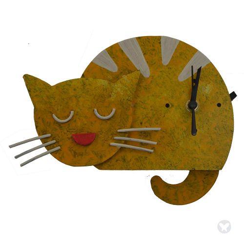 sleepy cat wall clock yellow