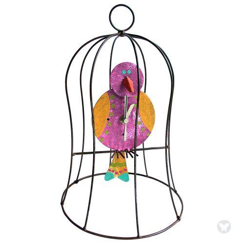 Small cage clock with pend fuccia