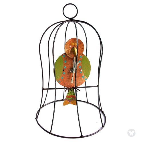 Small cage clock with pend orange