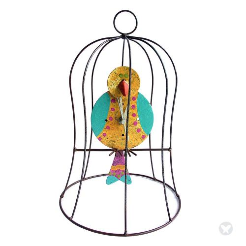 Small cage clock with pend yellow