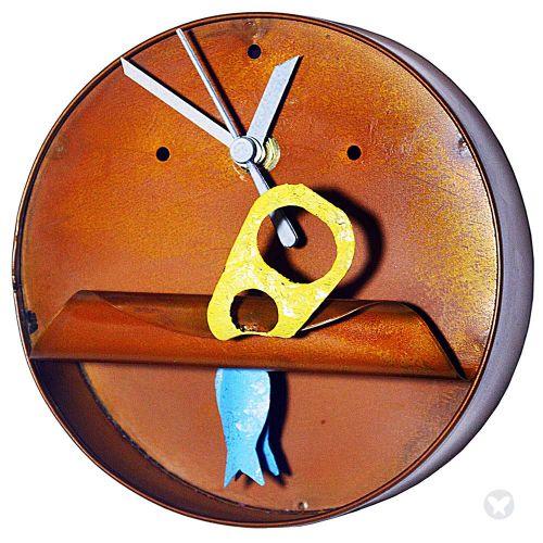 Tuna can wall clock-big teal