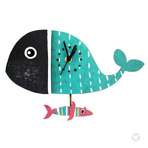 Whale wall clock blue