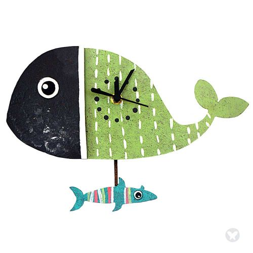 Whale wall clock green