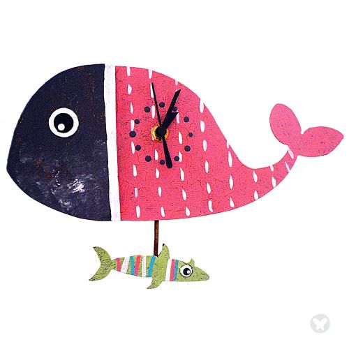 Whale wall clock pink